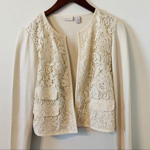 Chicos Open Front Cardigan Sweater Size O/ S Lace